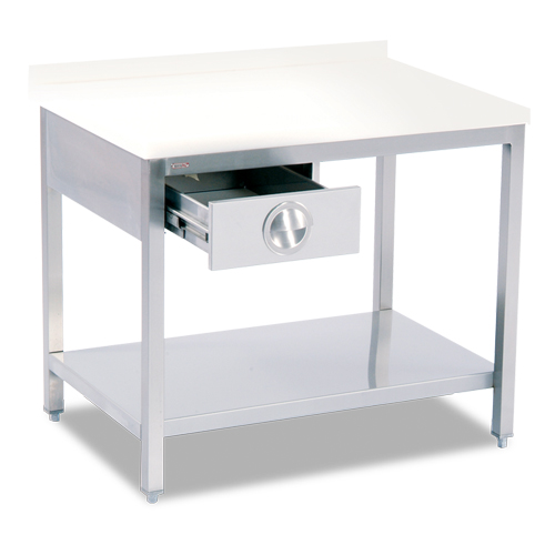 POLYETHLENE TOP TABLE (WITH BOTTOM SHELF-WITH 1 DRAWER)
